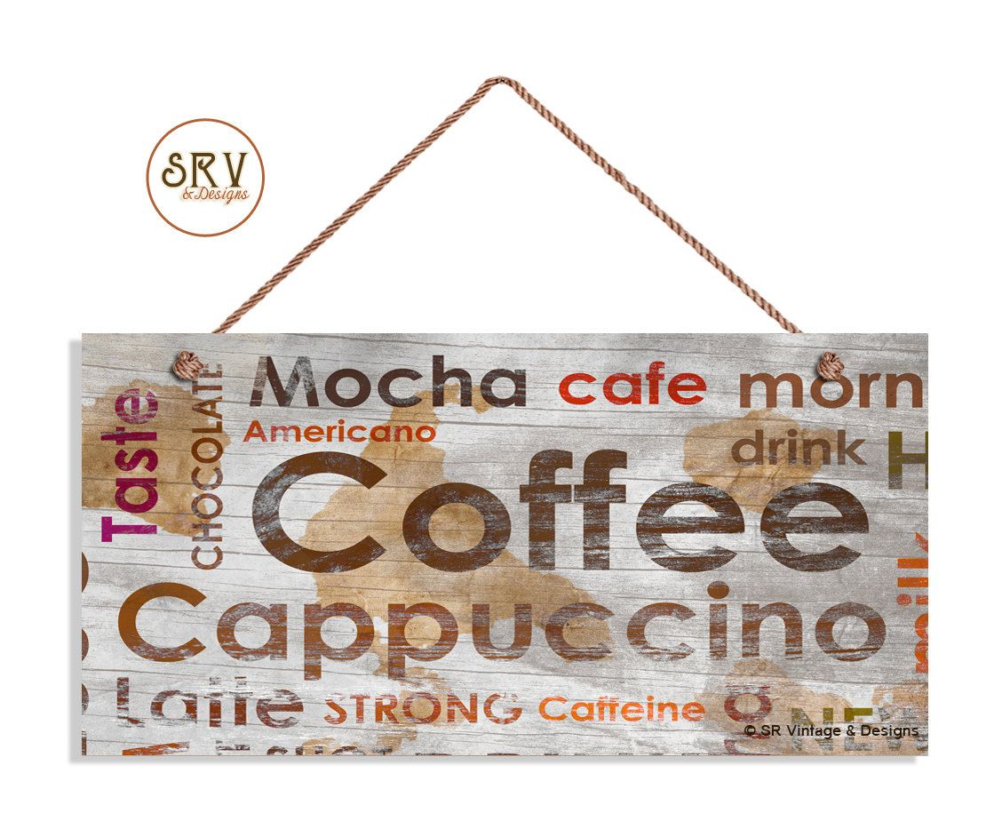 distressed coffee sign weathered wood style with cafe mocha cappuccino latte words weatherproof 5 x 10 sign cafe decor made to order - Distressed Cafe Decor