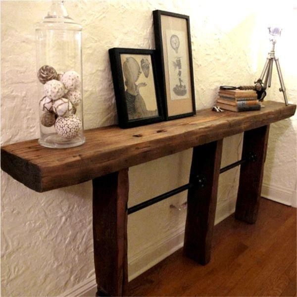 Beautiful Reclaimed Cedar Wood Beam Console Table With Pipes The