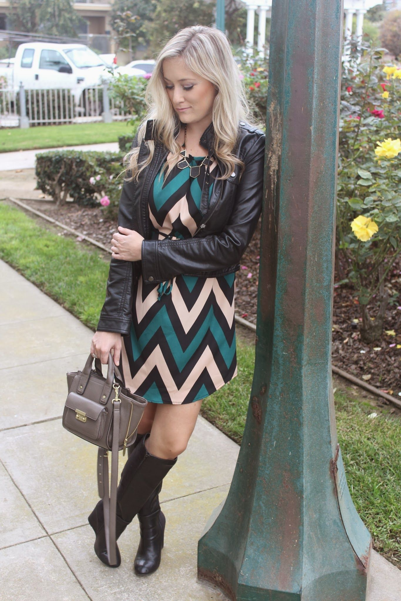 She Said He Said: Woven Chevron Shift Dress, @Charlotte Willner Russe #chevron, #fashion, #blogger, #dress, #fall, #winter, #black, #leather, @FOREVER.com 21, #layers, #boots, #wedge, #gold, #OOTD, #philliplimfortarget