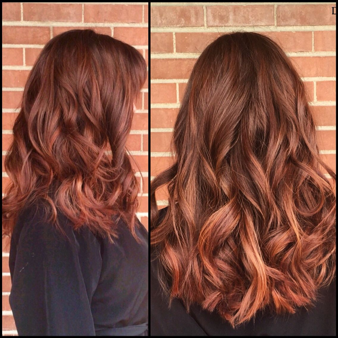 Auburn balayage ombré with warm red and copper painted ...