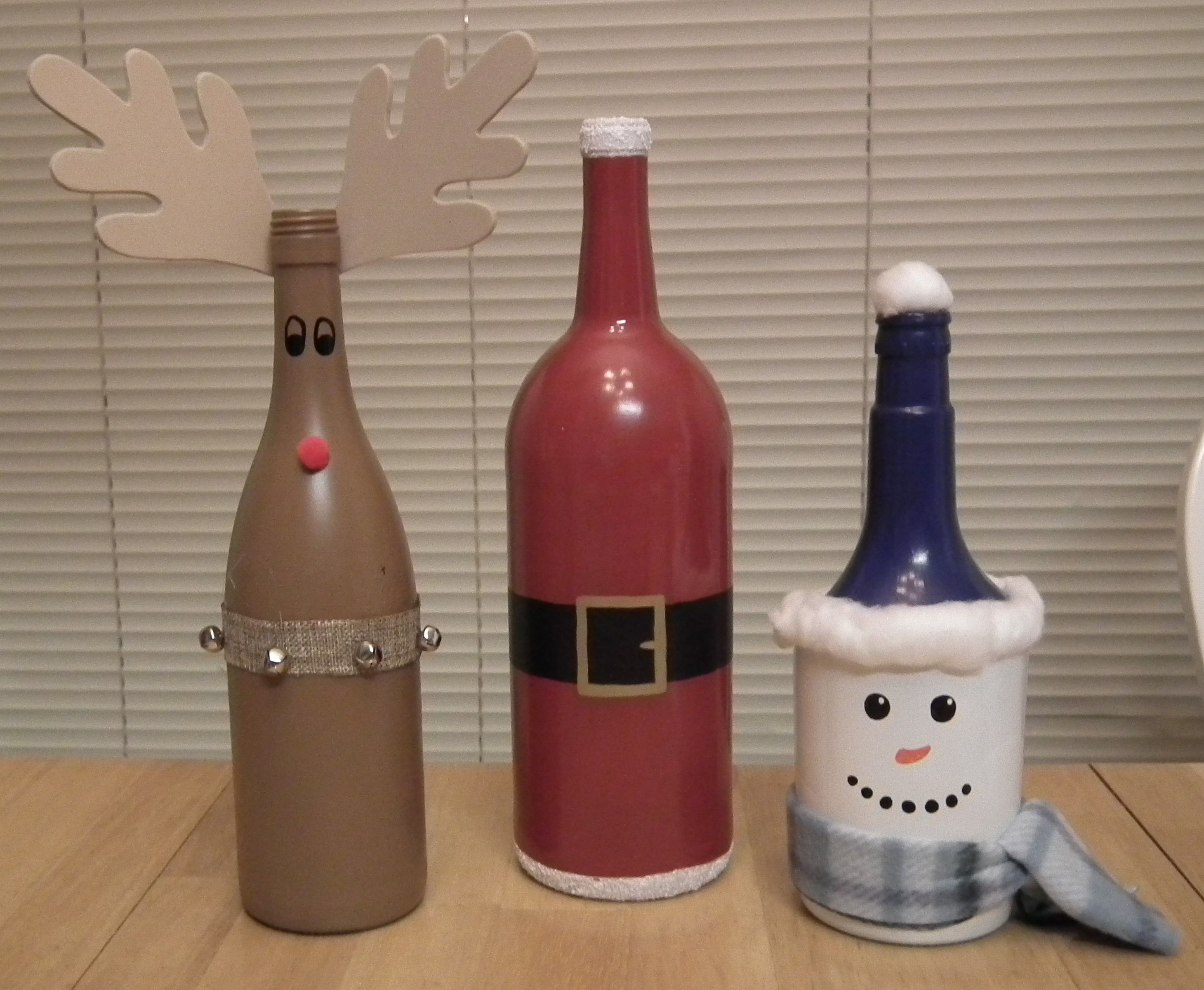 Wine Bottle Decor Reindeer Santa Snowman Bottles  Wine Bottle Crafts  Pinterest