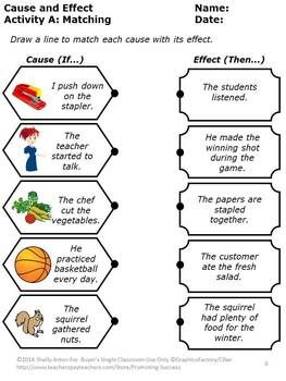 cause and effect activities special education reading comprehension