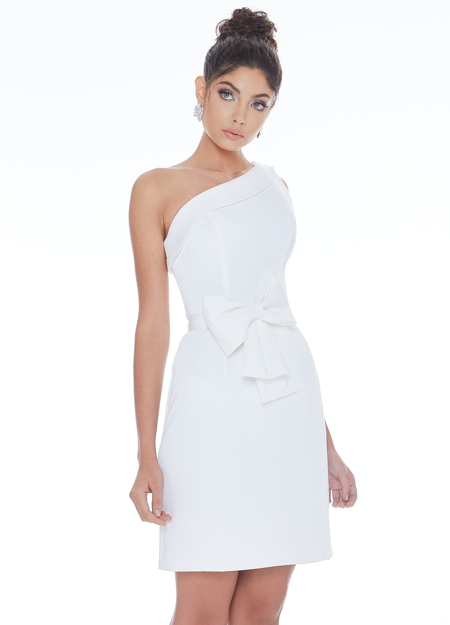 Ashley Lauren 4229 One Shoulder Bow Cocktail Dress