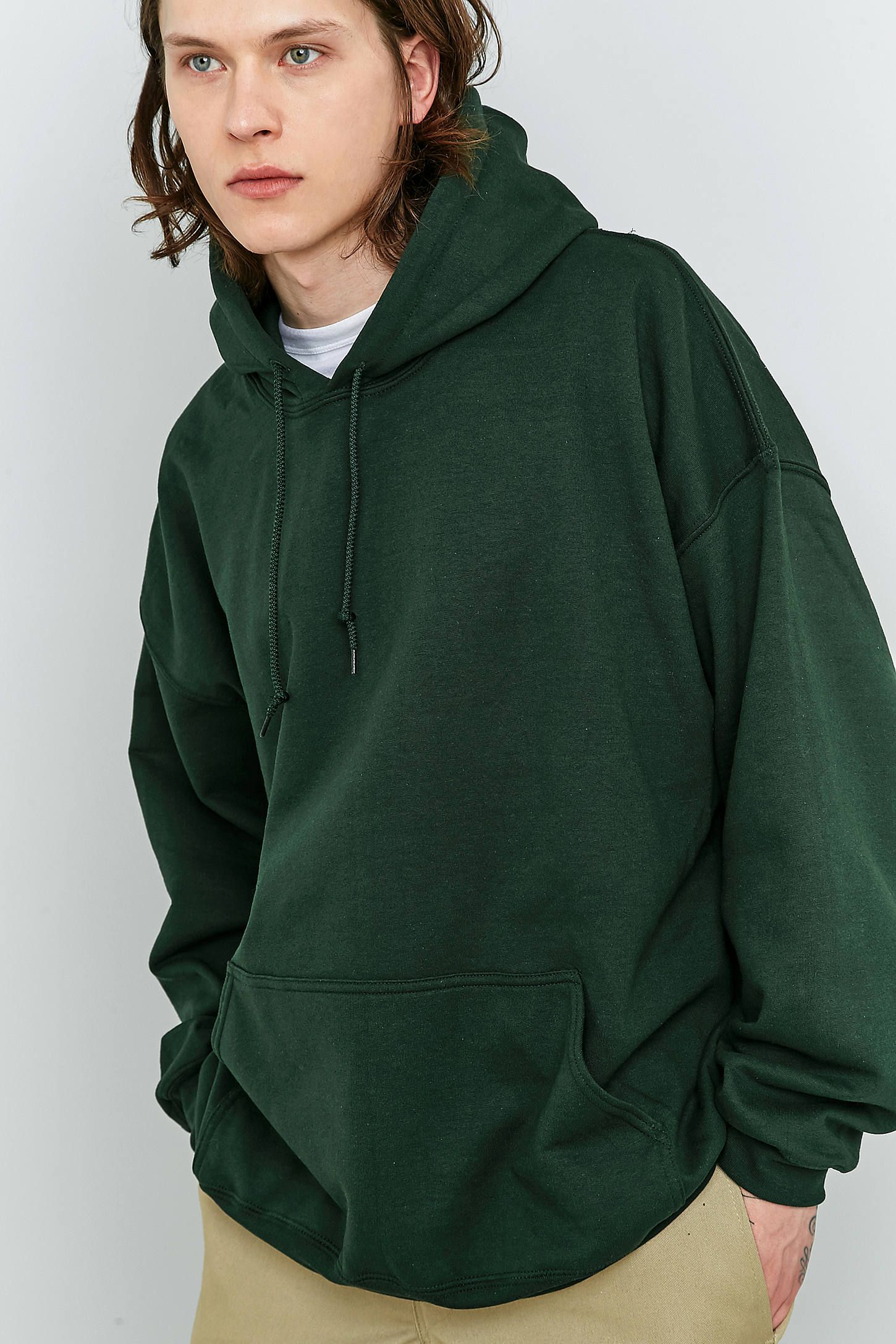 Slide View  1  UO Forest Green Oversized Hoodie  d4814dfa5dc0