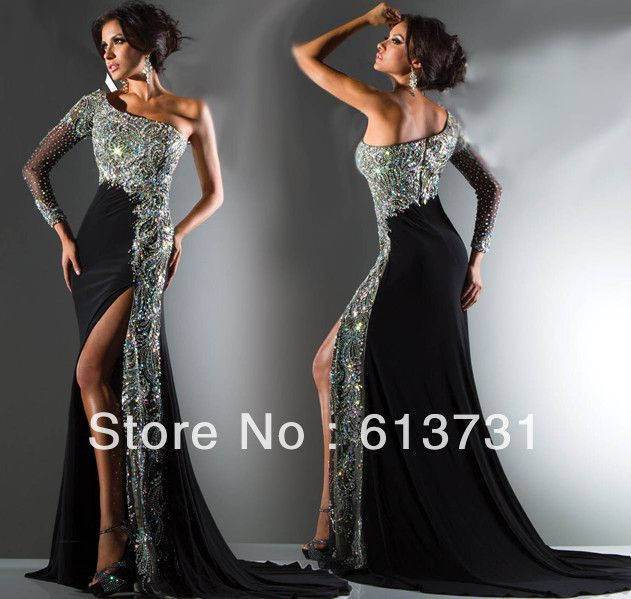 2013 New Magic One Shoulder Long Sleeve Prom Dresses Crystal ...
