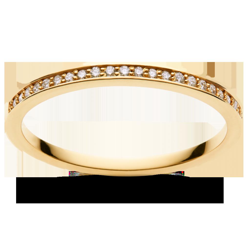 Diamantring i 14 karat gul guld med 0.09 carat diamanter indfattet halvejs rundt om ringen.  Maanestens diamanter er af meget høj kvalitet. Vi bruger kun SI1 diamanter. Det betyder, at der kun er meget små og få fragmenter i stenen. Farven er nær farveløs. Klik på diamant guide for mere information.