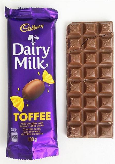Cadbury Dairy Milk Chocolate Toffee Bar Dairy Milk Chocolate Chocolate Toffee Bars Cadbury Dairy Milk Chocolate