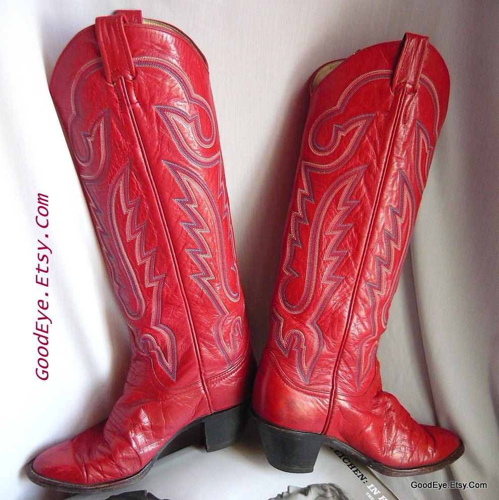bdd1b91062b Ladies RED Leather Cowboy Boots size 6 .5 Eur 37 Uk 4 Vintage LARRY ...