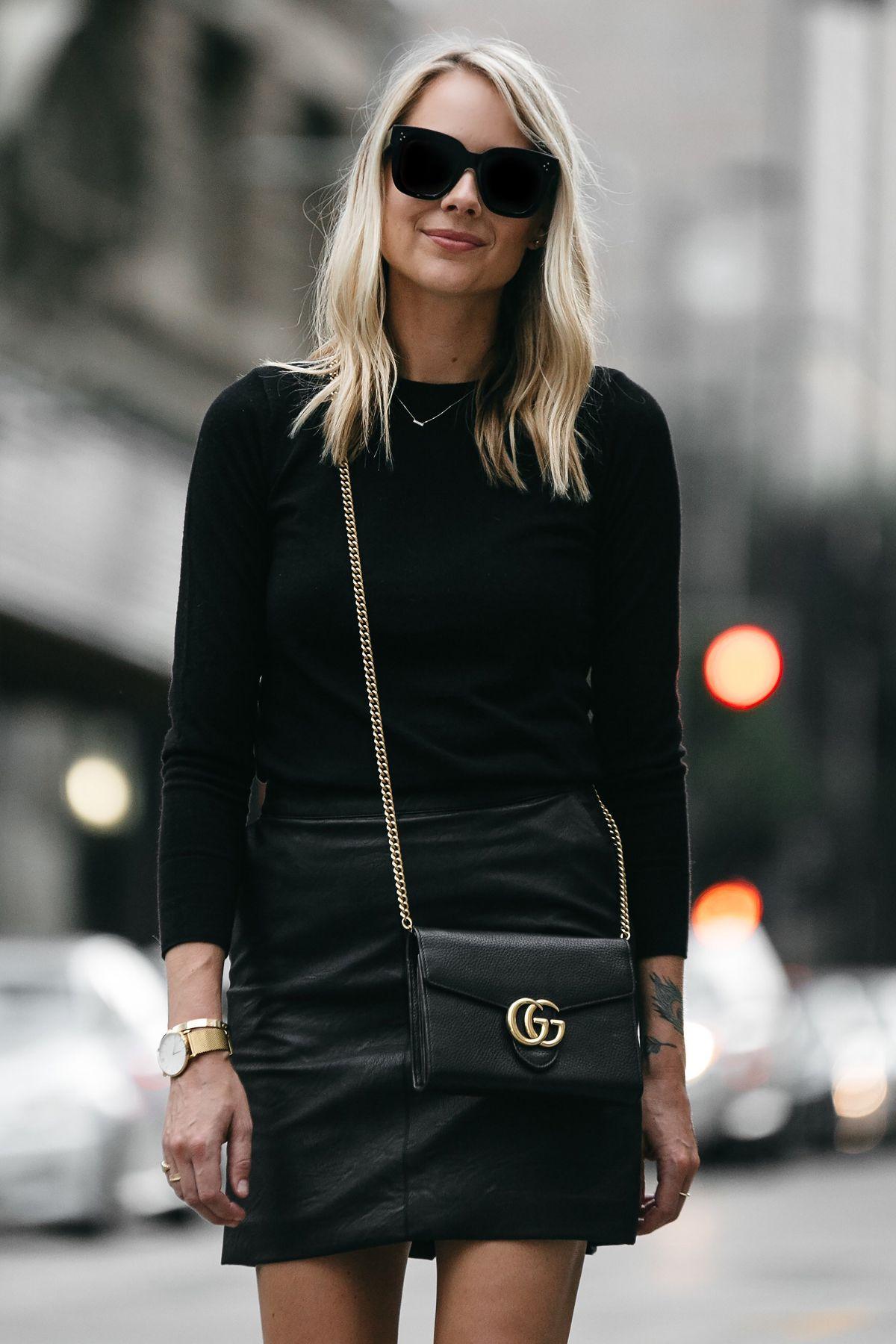 Blonde Woman Wearing Club Monaco Black Sweater Topshop Black Leather Mini  Skirt Outfit Gucci Marmont Handbag Fashion Jackson Dallas Blogger Fashion  Blogger ... 37f918e53