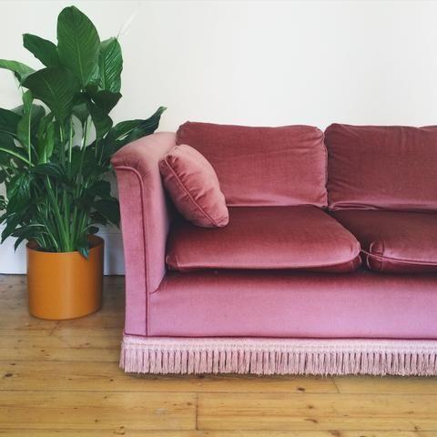 Retro Pink Fringed Sofa from Habiib Home   fringe for sofa ...