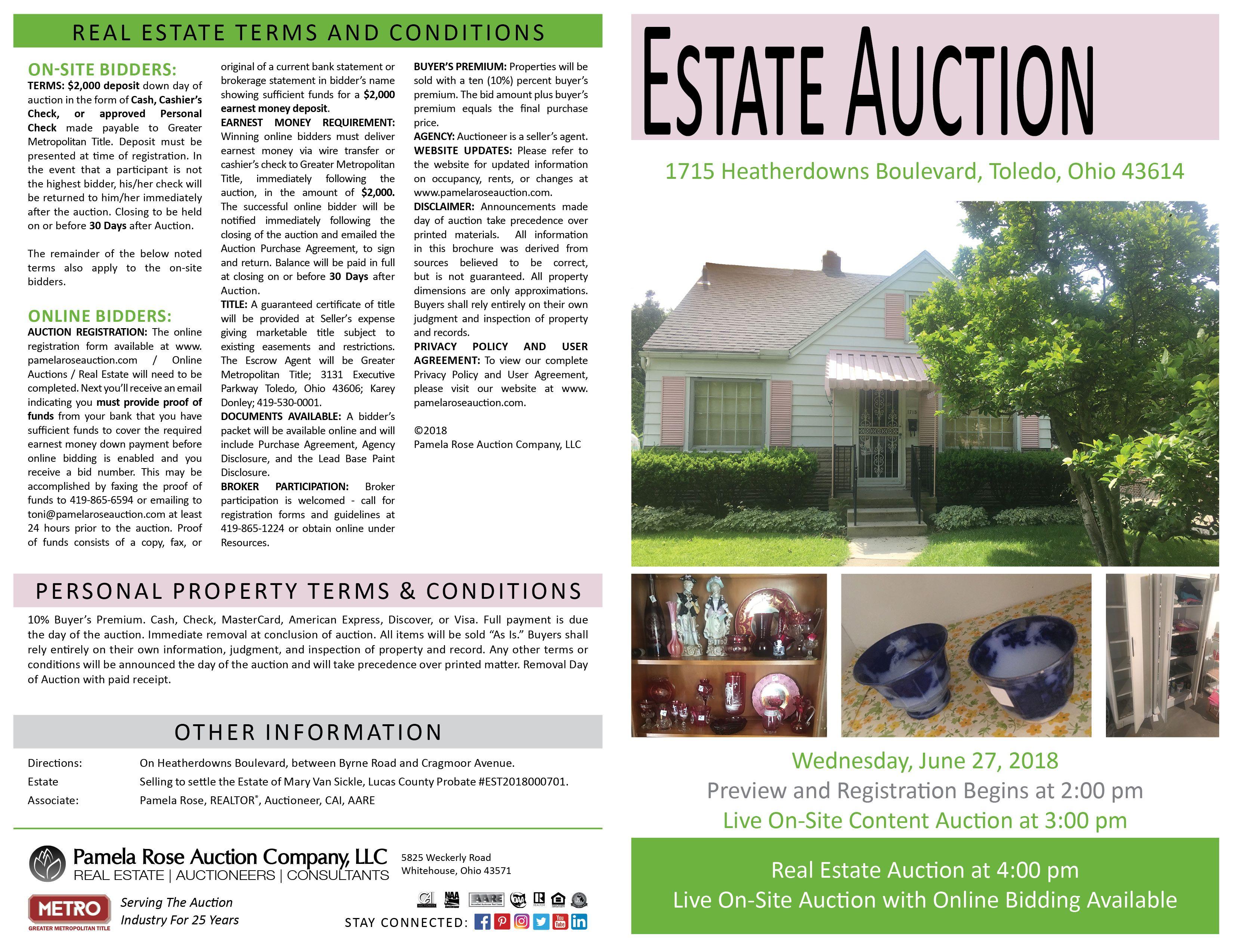 Estate Auction At 1715 Heatherdowns Boulevard Toledo Ohio 43614