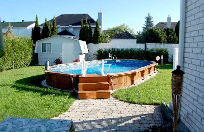 Semi Inground Pool Landscape Ideas Pool Design Ideas Inground