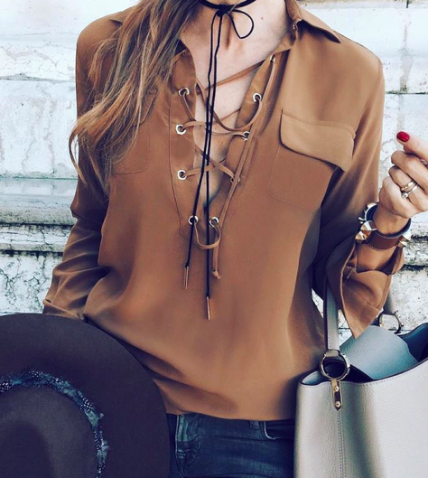 lace up blouse + denim