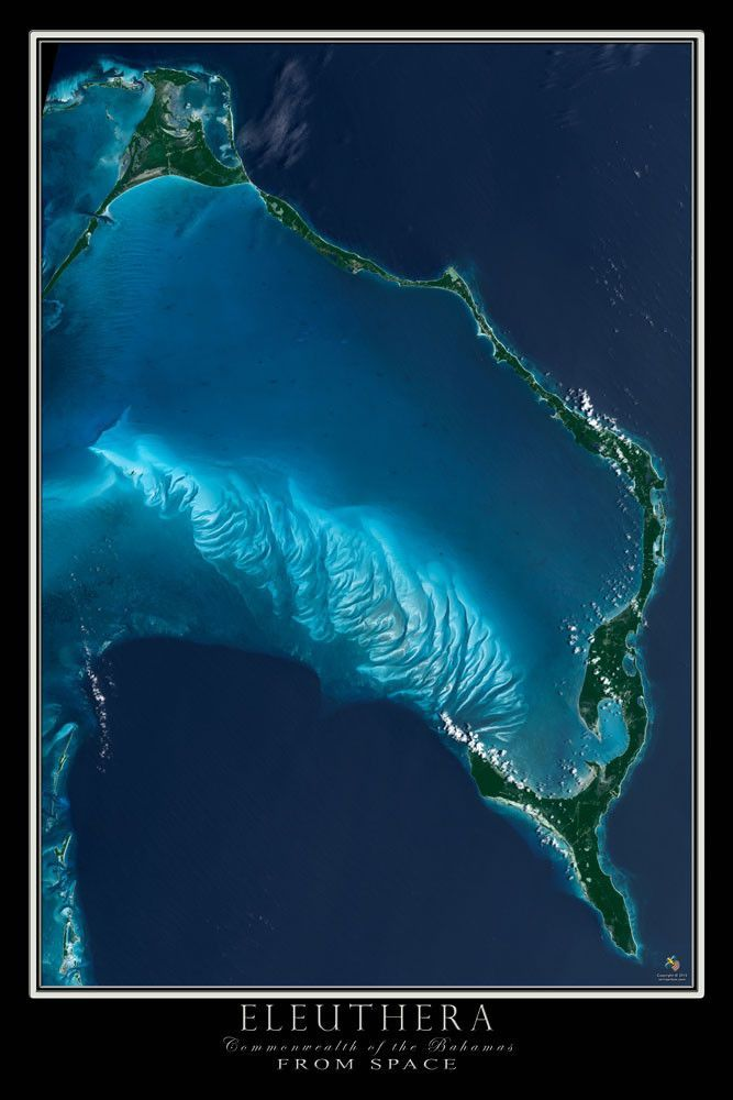Eleuthera Bahamas Satellite Poster Map Eleuthera Bahamas Pink - Map through satellite