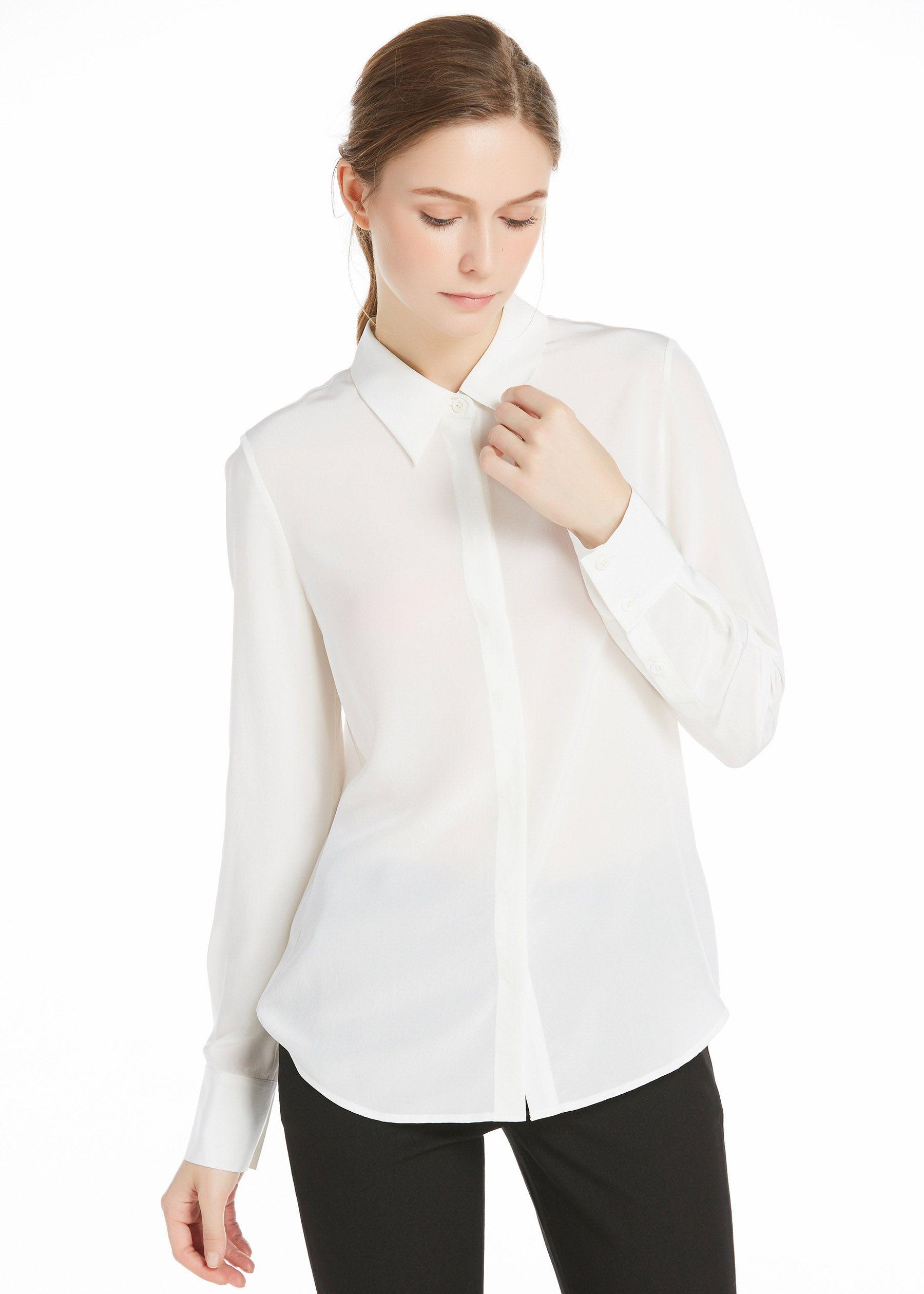 4d203b90616f0d Wrinkle Free Basic Silk Shirt in 2019   Button Down Blouse   Silk ...