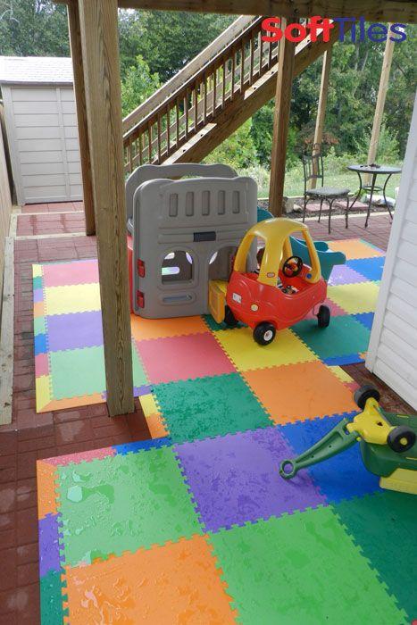 Outdoor Patio Children S Play Mat Using Softtiles Interlocking Foam Mats