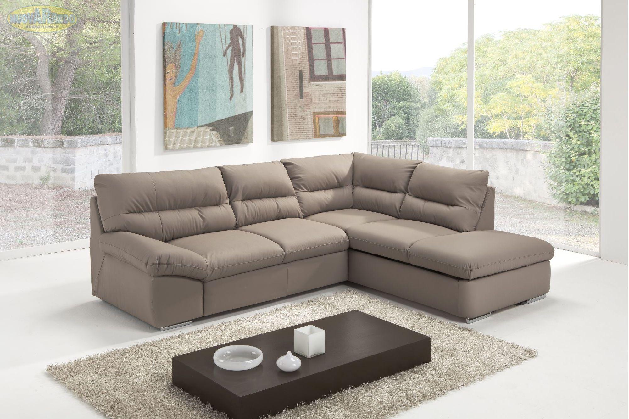 Prezzo 899 divano angolare in ecopelle argento con contenitore e letto estraibile dimensioni - Divano ecopelle angolare ...
