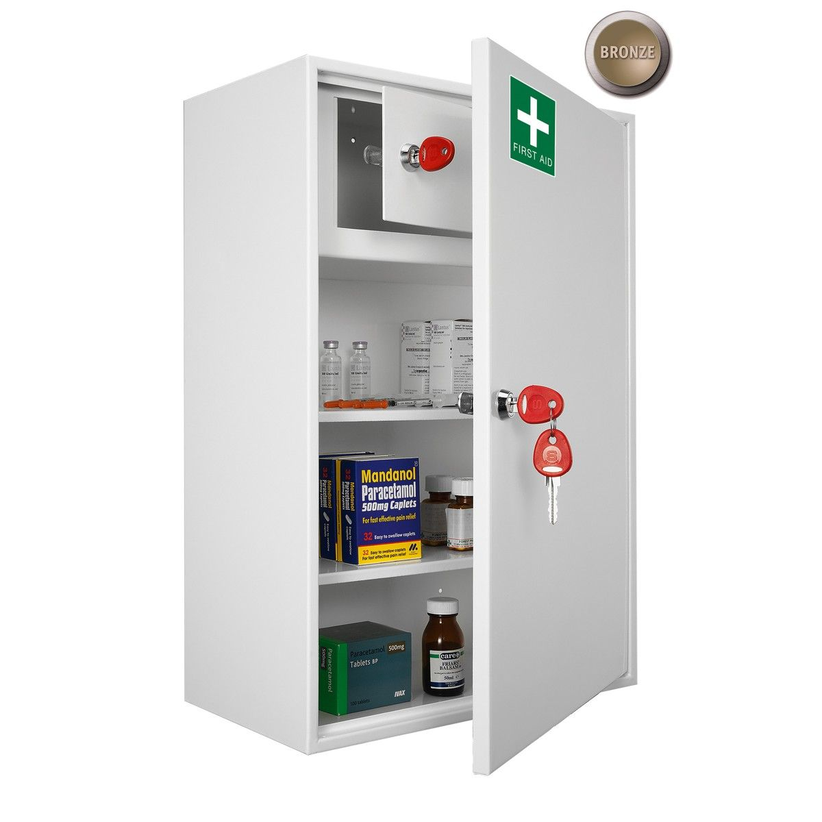 Superieur Securikey Medical Cabinet   First Aid Ideal For General First Aid Equipment  Lockable Inner Compartment With 2 Keys Supplied With 2 Removable Shelves ...