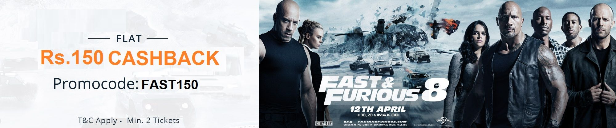 Fast and furious 8 movie paytm offers get 50 upto rs