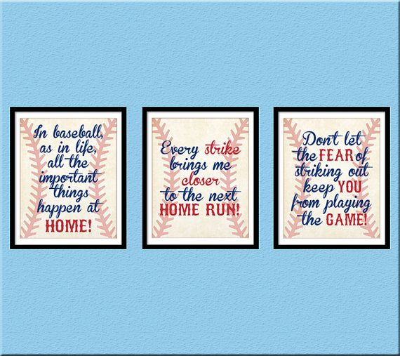 INSTANT DOWNLOAD, Baseball Quotes Nursery Wall Art, Home Run ...