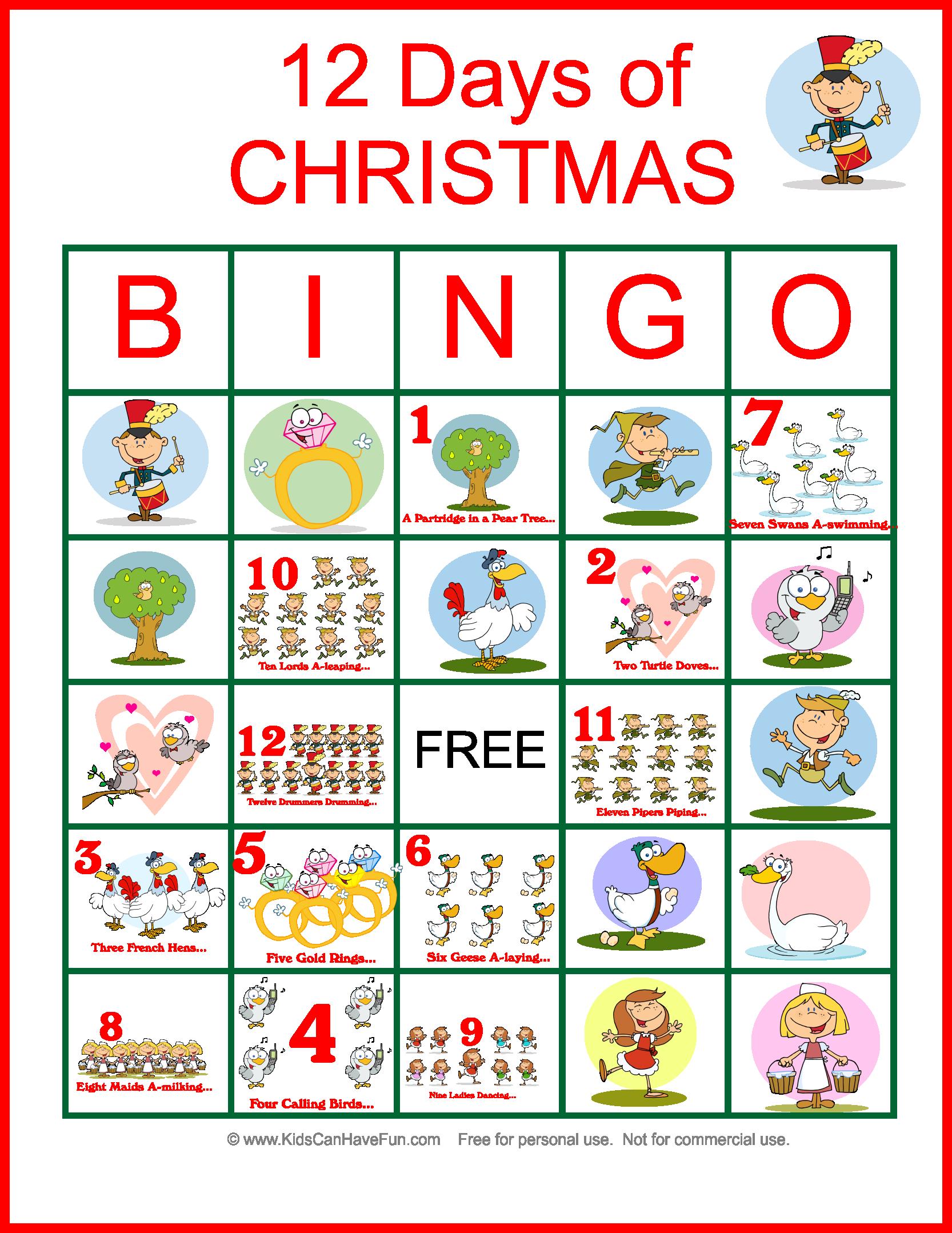 Twelve Days Of Christmas Bingo For The Whole Family