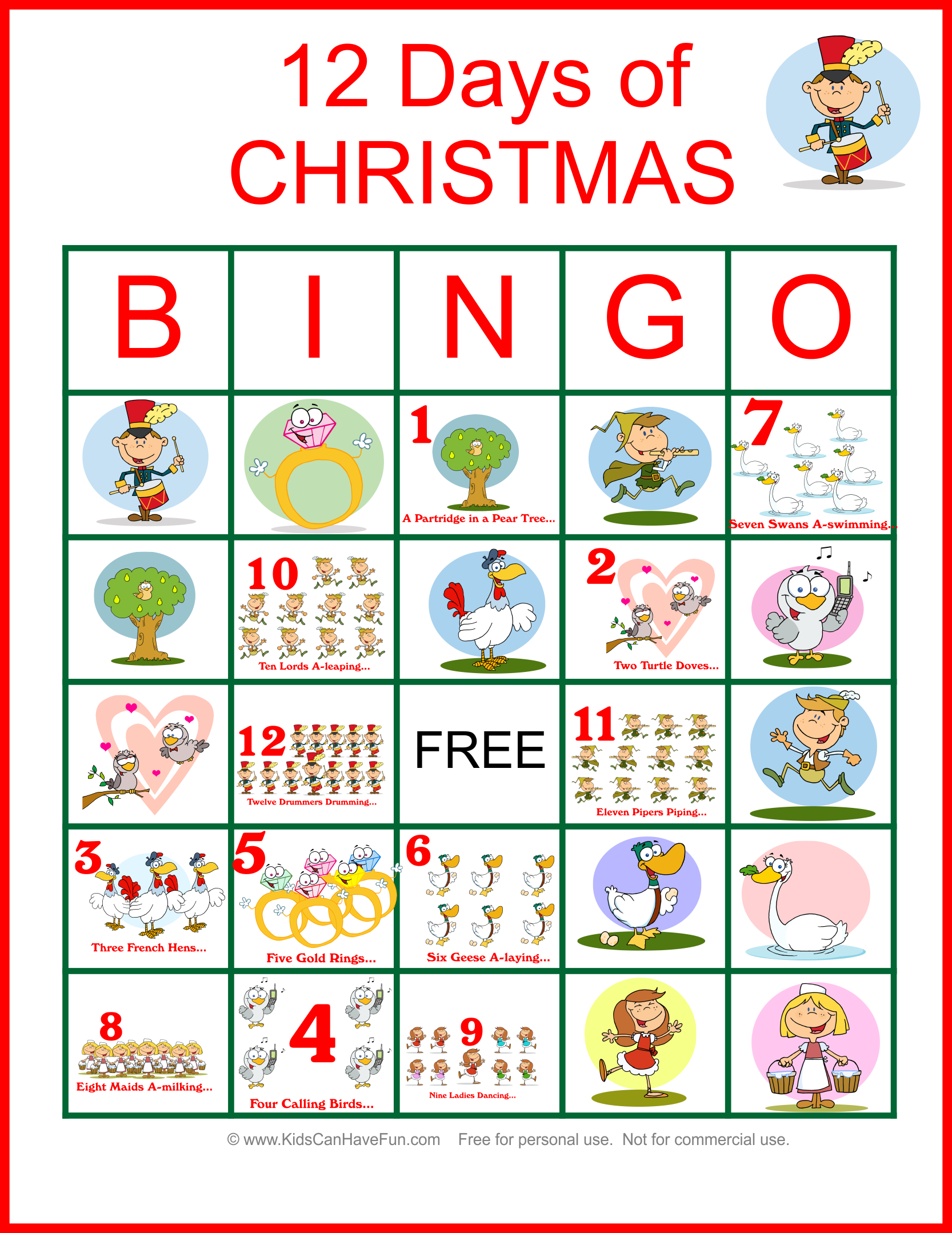 Twelve Days Of Christmas Bingo For The Whole Family