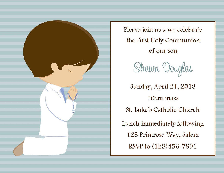 First Communion Invitation - Boy (Digital File). $12.00 ...