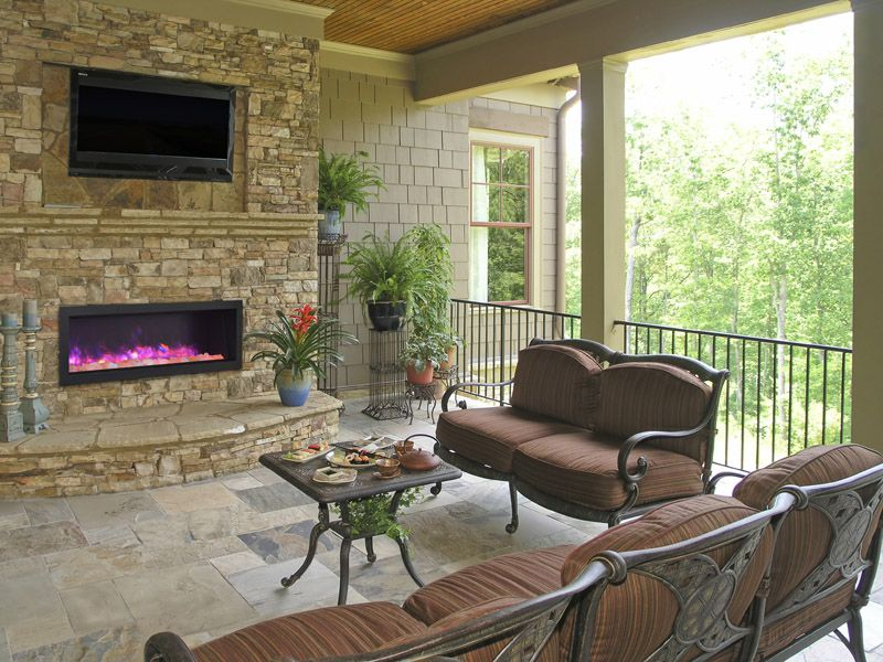 outdoor patio electric fireplace makes the space very cozy