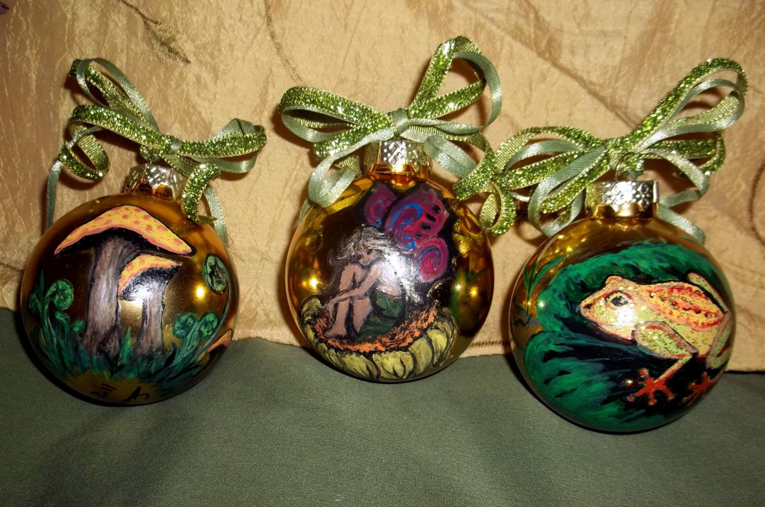 Fairy christmas ornaments - Woodland Fairy Christmas Ornaments Fairy Ornaments Fairy Christmas Balls Hand Painted By Me On