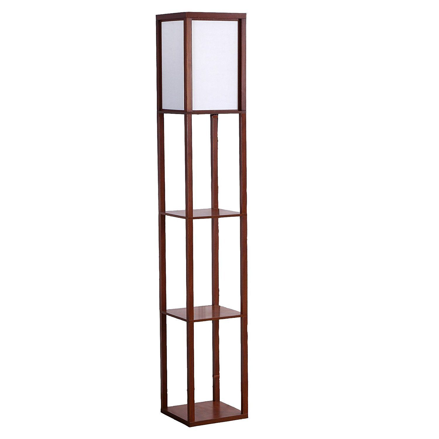 Brightech Maxwell Led Shelf Floor Lamp Modern Asian Style Standing Lamp With Soft Diffused Uplight White Floor Lamp Modern Floor Lamps Natural Wood Frames