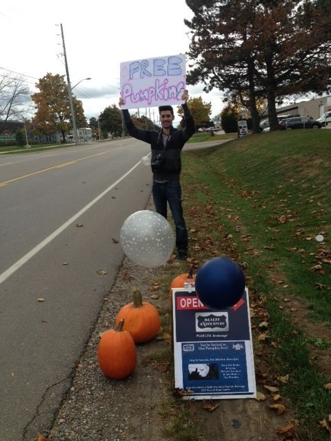 Chris Flagging down cars - Free Coffee and free pumpkins
