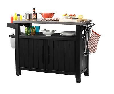 Resin Serving Station Prep Table Storage Cart Outdoor Kitchen Bbq Metal Grill Outdoor Kitchen Bars Mobile Kitchen Island Entertainment Storage