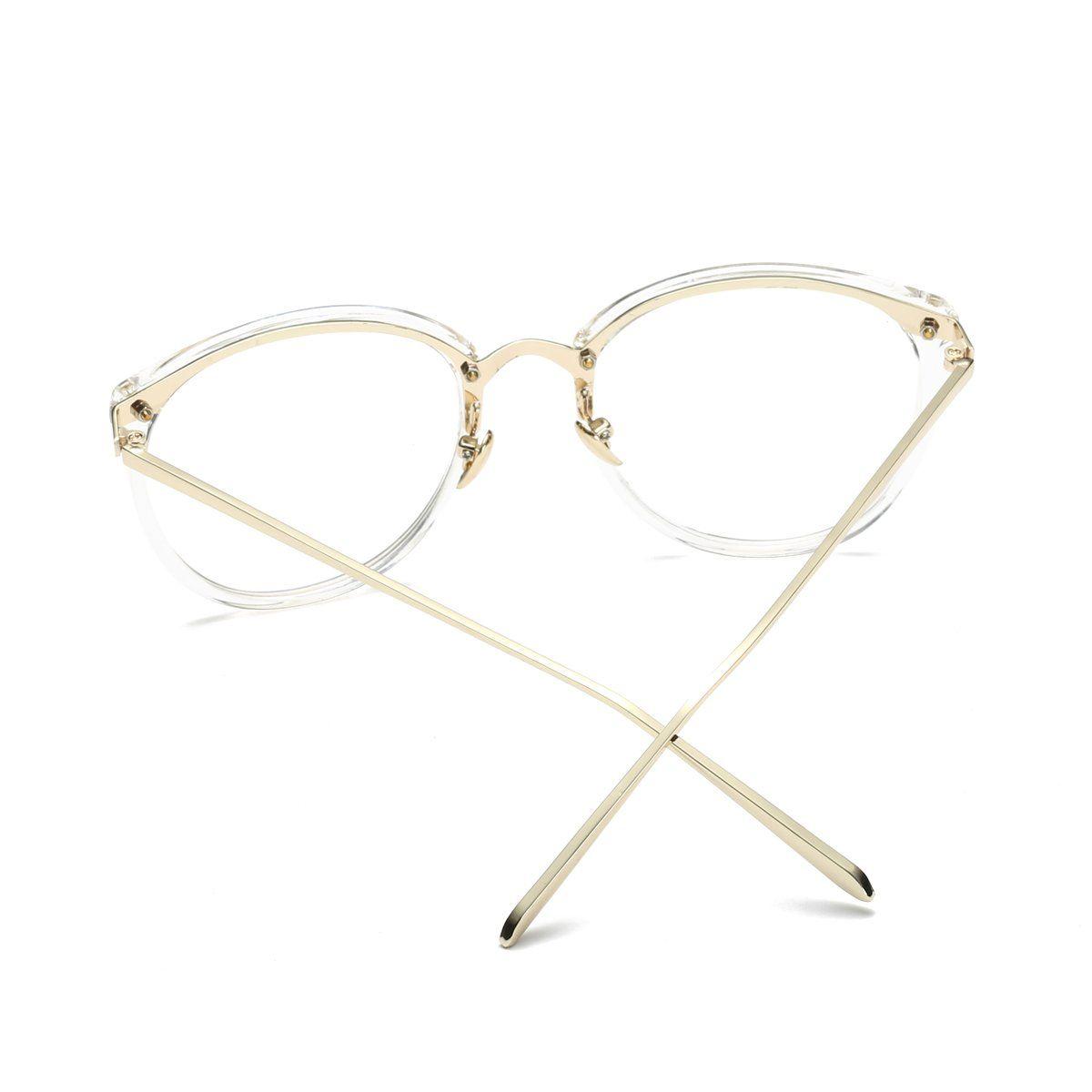 0ab3e7501af Amomoma Women's Fashion Round Eyeglasses Optical Frame Clear Lens Eyewear  AM5001 C7 Transparent Gold 50     Click image for more details.