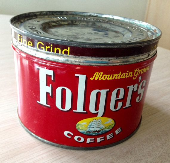 Vintage FOLGER S Red COFFEE TIN w Lid 1950 s by VintageKitchNmore