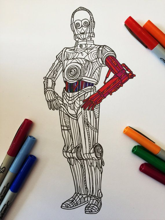 C3PO - PDF Zentangle Coloring Page Zentangles, Doodles zentangles - best of star wars coloring pages the force awakens