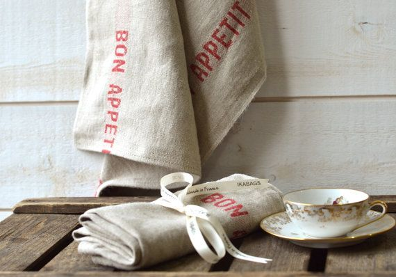 BON APPETIT French country 2 Linen Towels/ shabby chic kitchen