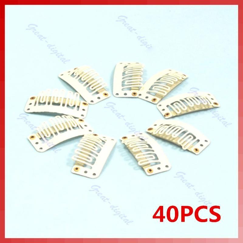 40pcslot U Shape Blonde Snap Clip For Hair Extension Wig Weft 32mm