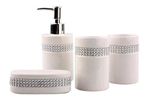 Justnile 4piece Bathroom Accessory Set Elegant Ceramic White With