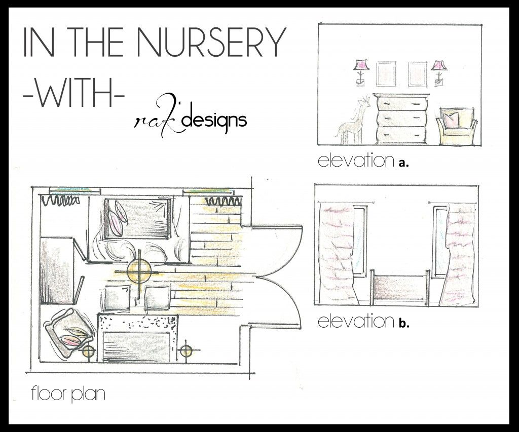 Nursery drawings (floor plans and elevations) by interior designer