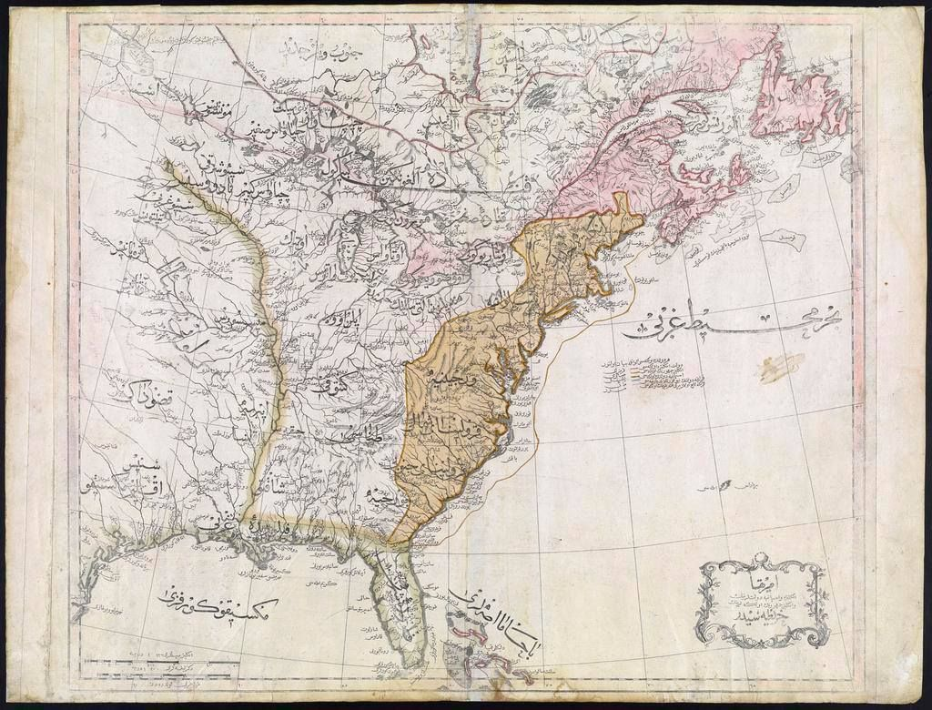Map Of The United States In 1803.Ottoman Map Of The United States From 1803 With Names Of States