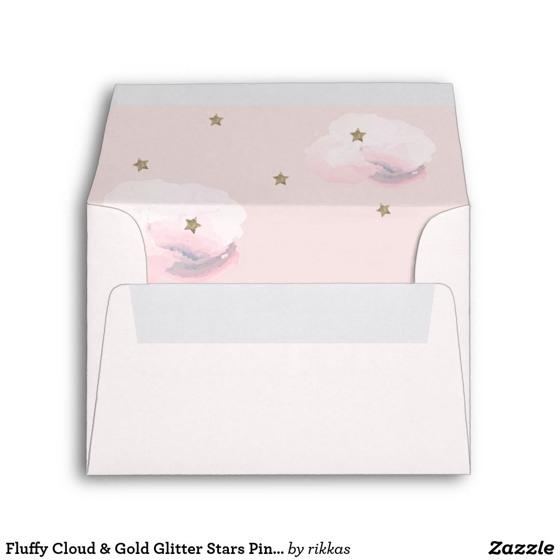 Fluffy Cloud & Gold Glitter Stars Pink Envelope | Zazzle.com #goldglitterbackground