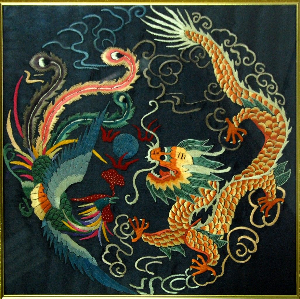 Chinese Silk Robes | CHINESE DRAGON PHOENIX FRAMED SILK EMBROIDERY Wall Art For Sale | Chinese ...