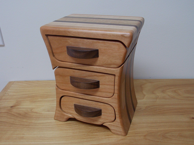 Small Cherry Wood Jewelry Box Bandsaw Jewelry Box Keepsake Jewelry