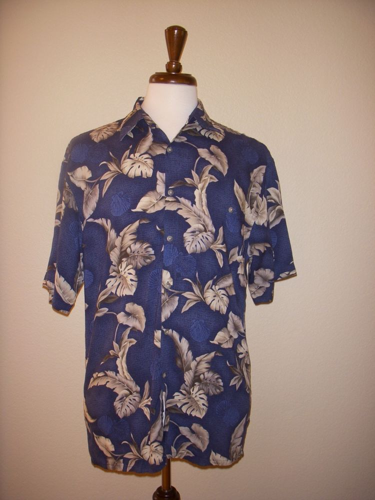 PIERRE CARDIN Blue Rayon Hawaiian Floral Camp SHIRT Men's M #PierreCardin #Hawaiian