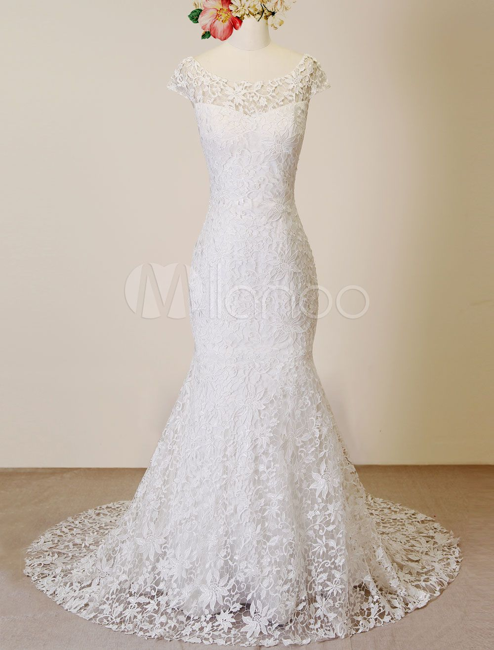 Cut out lace wedding dress  Mermaid Wedding Dress Scoop Lace Cut Out Court Train Bridal Dress