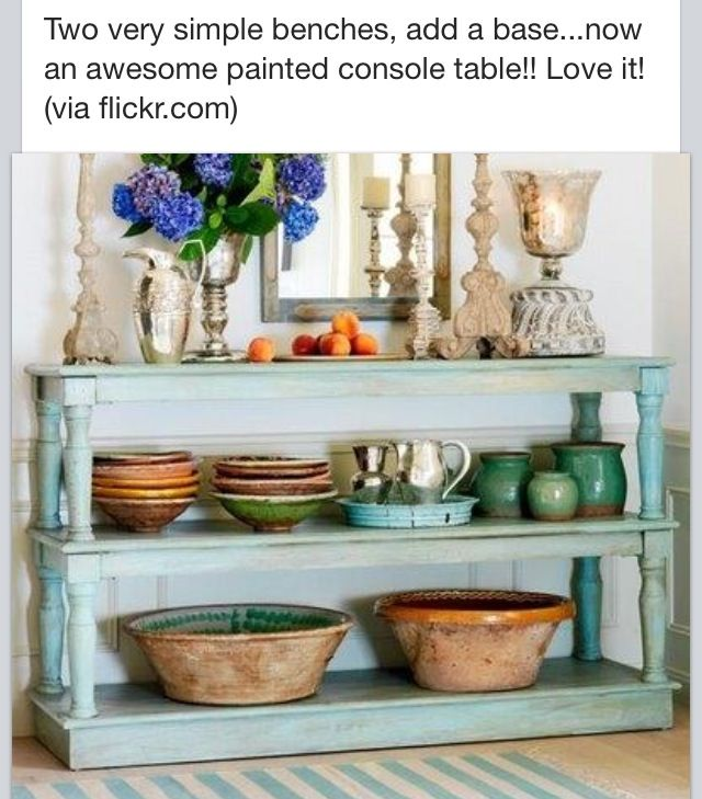 Benches into a console table