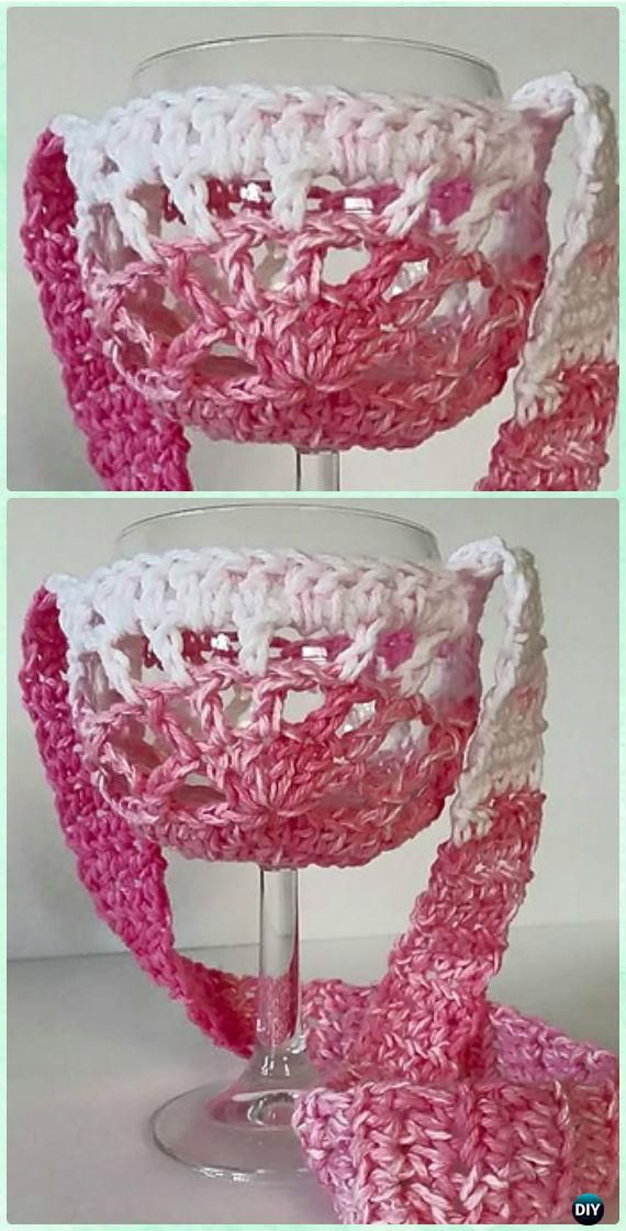 Crochet Wine Glass Lanyard Holder Free Patterns Wine Craft
