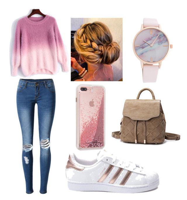 """School outfit idea.."" by elzie99 ❤ liked on Polyvore featuring WithChic and adidas"