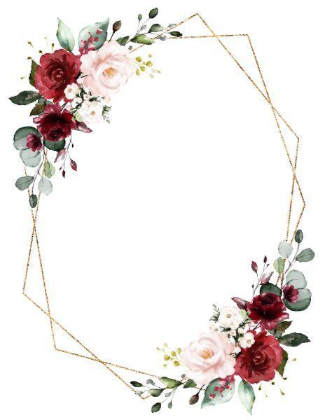 Romantic Watercolor Burgundy Floral Geometric Invi