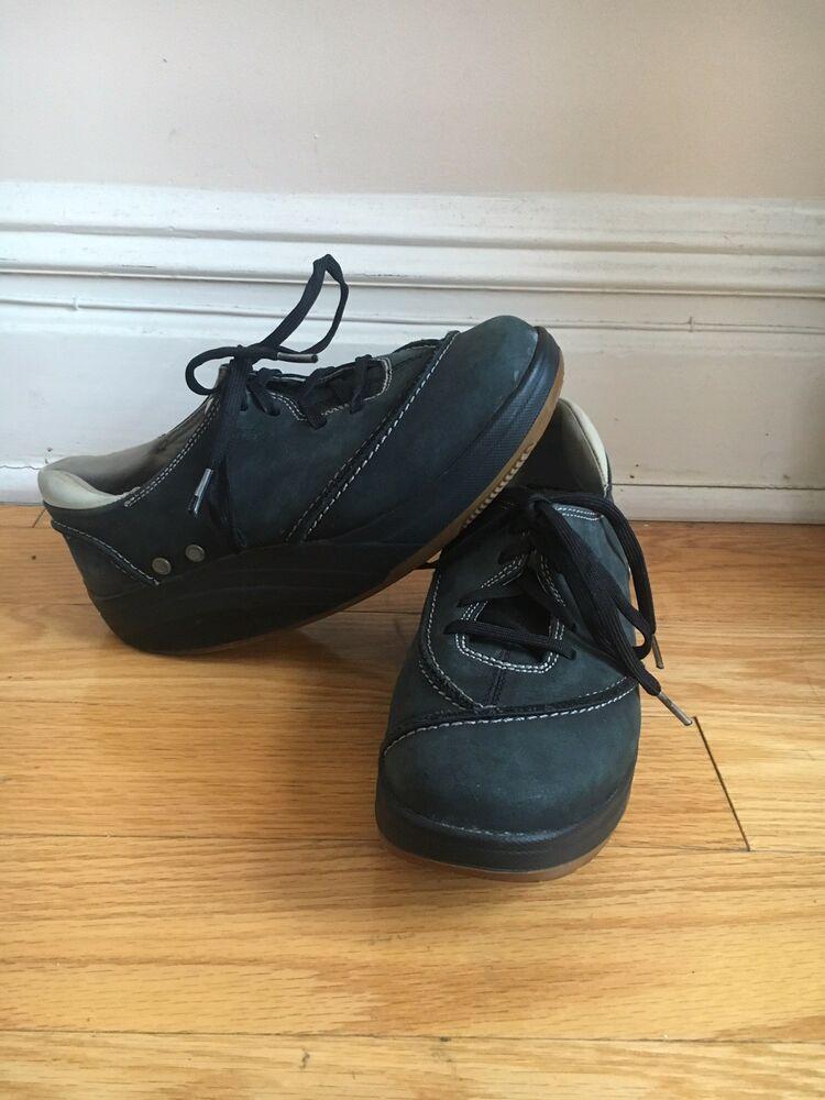 12aba3f9a2c0 MBT 400104-03 Barabara Black Leather Lace Up Toning Walking Shoes Women s  US 6.5